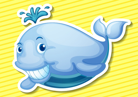 Illustration of a whale with background Vector