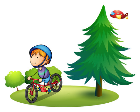 cartoon biker: Illustration of a boy riding a bicycle in a park