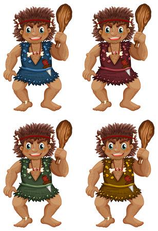 Illustration of cavemen with sticks Vector