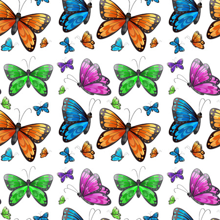 Illustration of a seamless butterfly Vector