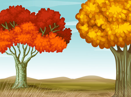 Illustration of a view of autumn Vector