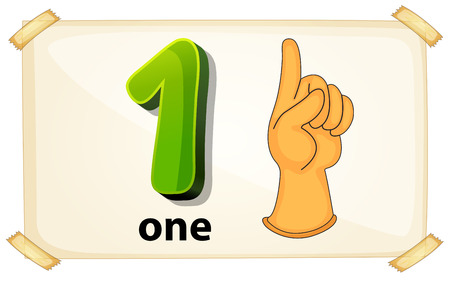 Illustration of a flashcard number one Vector