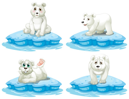 Illustration of polar bears set Illustration