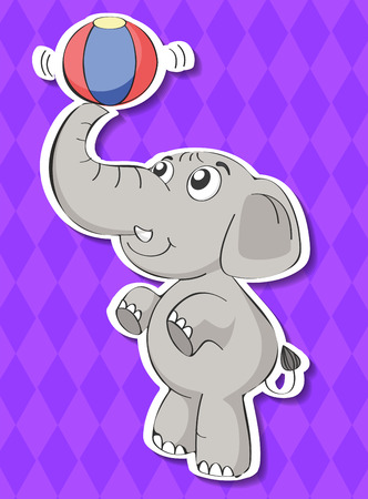 illustration of an elephant with a ball Vector