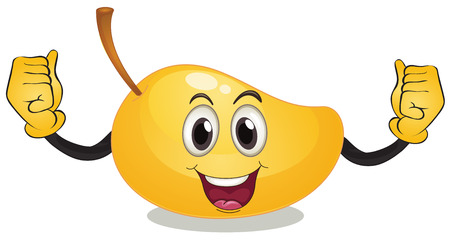 Illustration of a single mango with face Illustration