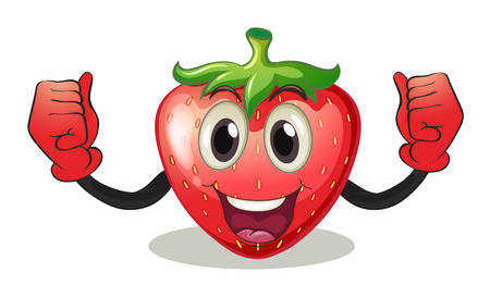Illustration of a strawberry with a face