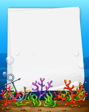 seaweeds: Illustration of a banner with underwater background