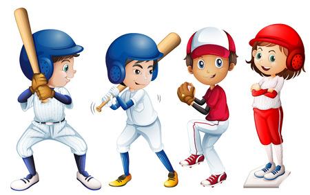 Illustratie van een team van honkbal