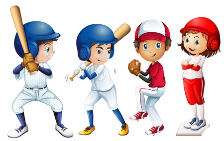 Illustration of a team of baseball Vector