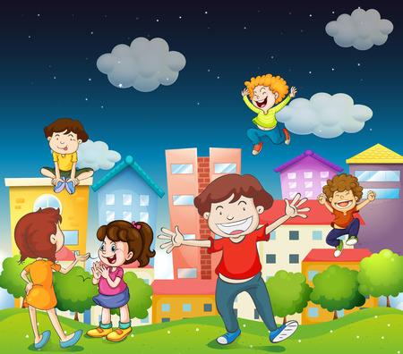 Illustration of a family in the park at night Vector