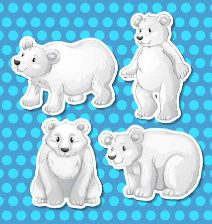 Illustration of different poses of polar bear