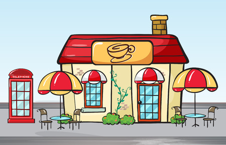 coffee shop: Illustration of a coffee shop and a phone booth