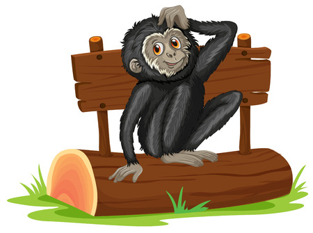 illustration of a gibbon sitting on a log Vector