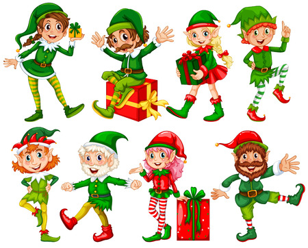 Illustration of many elfs with presents