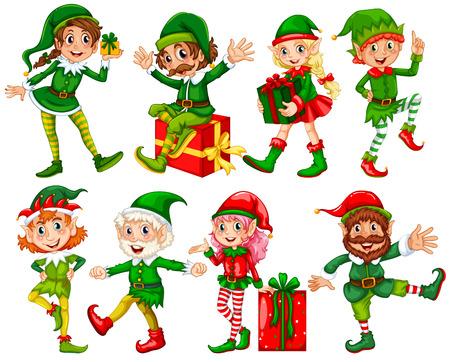 Ilustración de muchos elfos con regalos