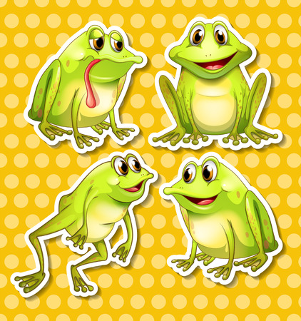 Illustration of frogs in different poses Vector