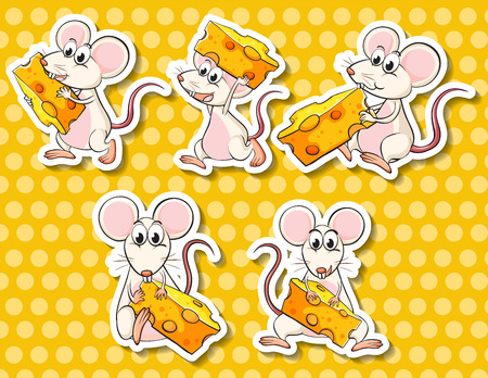 pet food: Illustration of different poses of mouse and cheese