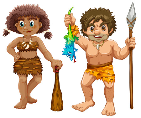 Illustration of male and female cavemen Vector