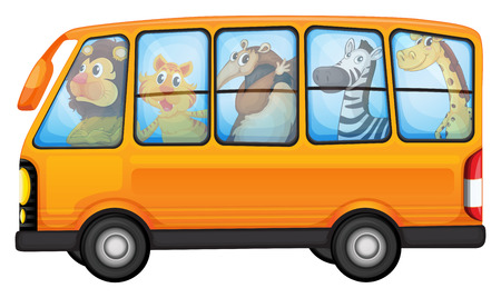 Illustration of many animals on a bus Vector