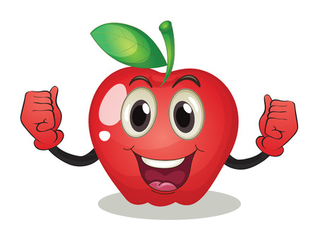 apple clipart: Illustration of an apple with a face