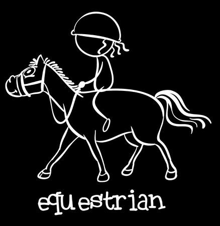 pony ride: Illustration of a doodle of equestrain Illustration