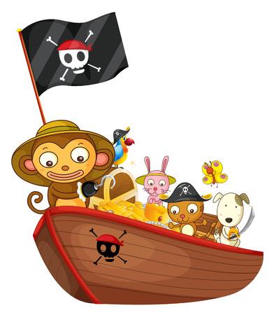 treasure hunt: Illustration of many animals on a boat