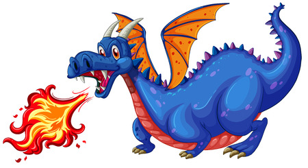 fictional: Illustration of a blue dragon blowing fire
