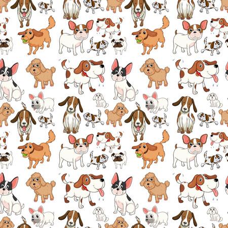 Illustration eines nahtlosen Hunden Standard-Bild - 31923303