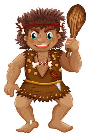 illustration of a single caveman with stick Vector