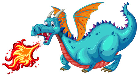 dragon fire: Illustration of a dragon blowing fire