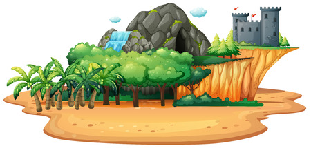waterfall in forest: Illustration of an island with cave