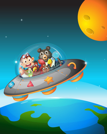 Illustration of many animals in a spaceship Vector