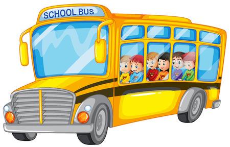 Ilustracja z wielu dzieci w szkolnym autobusie