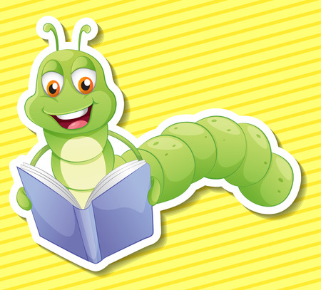 Illustration of a bookworm with background Vector