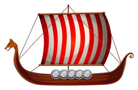 Ilustración de un barco vikingo con velas