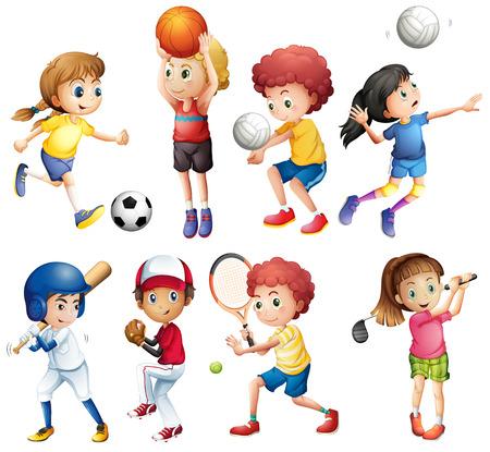 Ilustração de muitas crianças praticando esportes