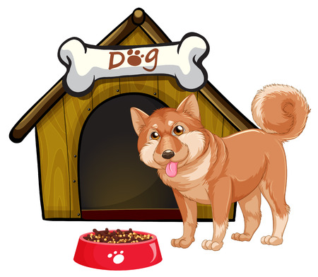 doghouse: Illustration of a dog and a doghouse
