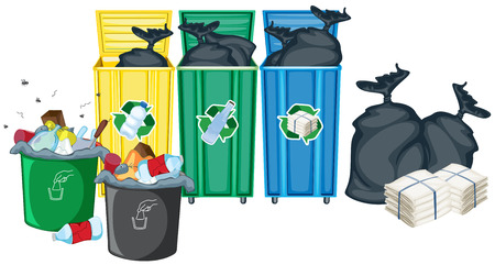 garbage bag: Illustration of rubbin bins and garbages