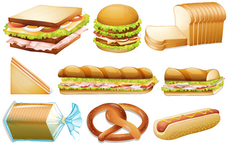 white bread: Illustration of different kind of bread