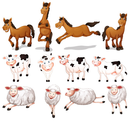 illustration of many farm animals Vector