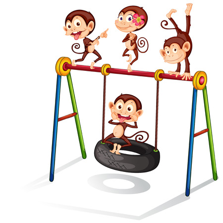 Illustration of many monkeys on a swing Vector