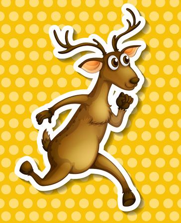 running reindeer: Illustration of a deer running with background