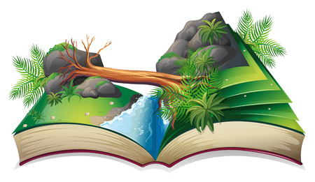 log book: Illustration of a popup book of a stream