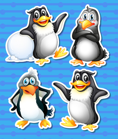 northpole: Illustratie van de pinguïns met verschillende poses Stock Illustratie