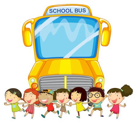 transporte escolar: ilustración de muchos niños y un autobús escolar