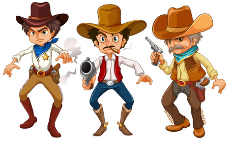 cartoon police officer: illustration of many cowboys with guns