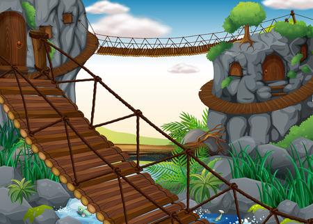 Ilustración de casas cueva y puentes