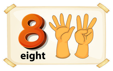 pre school: Illustration of a flashcard number eight Illustration