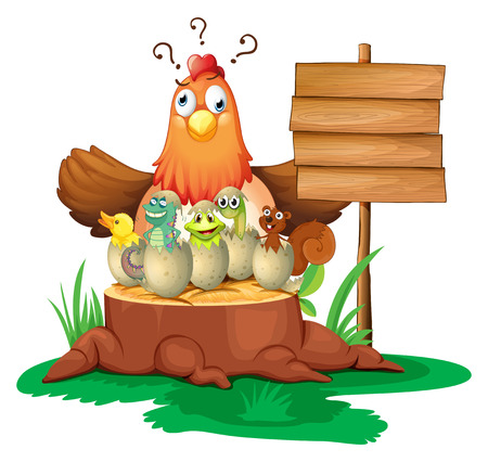 Illustration of a chicken with many cracking eggs Vector