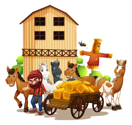 Illustration of a farmer and a barn Vector